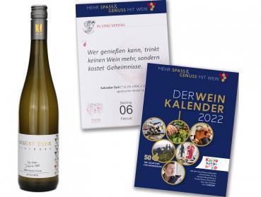 Wein-Kalender und Weinflasche  - *frachtfrei*